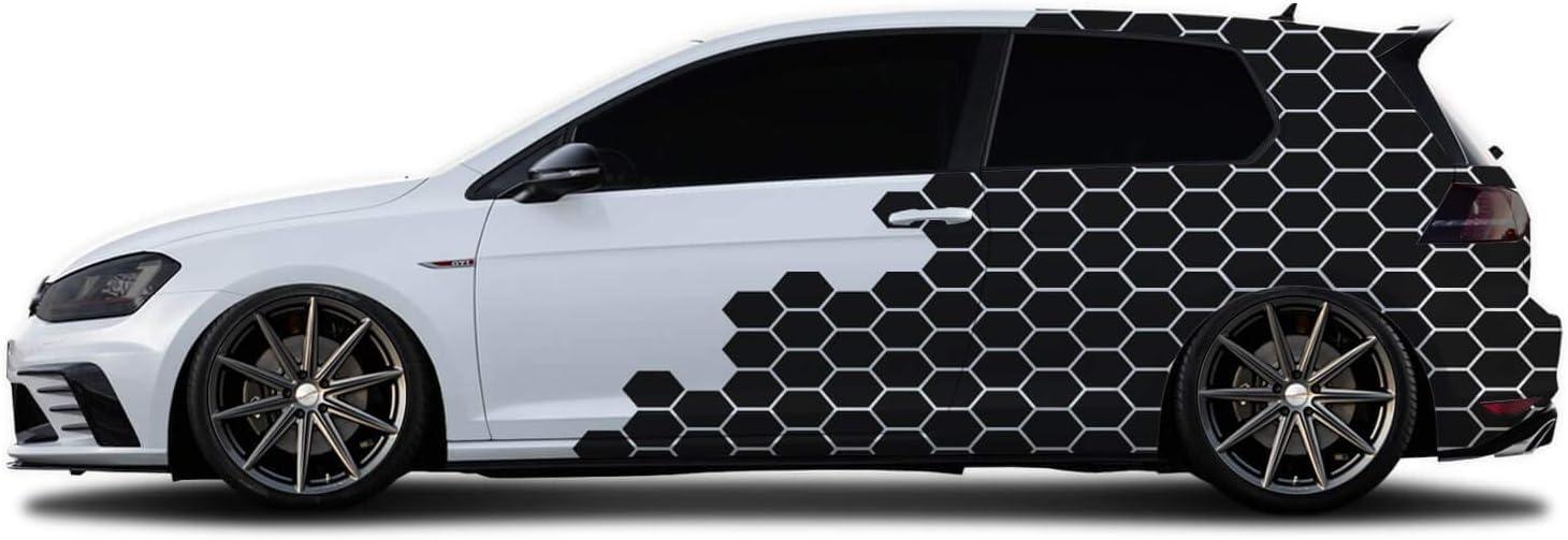 WRAP-SKIN Camouflage Cyber Pixel Aufkleber Auto Tuning Komplettset 2 x WS-01-00-10005 010 Wei/ß Glanz
