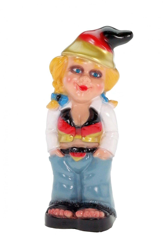 RAKSO Gartenzwerg Zwergenfrau Mandy Deutschland Edition PVC Zwerg Garten Zwerg Figur