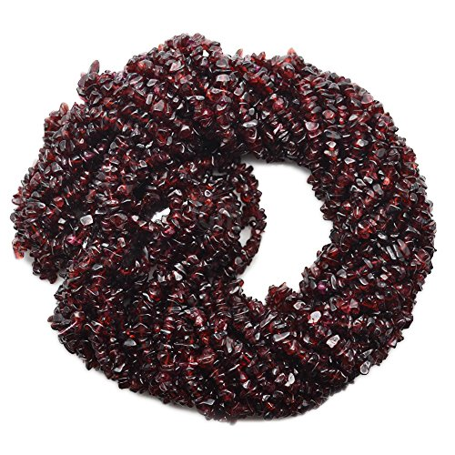 5 Strands (34inches) of Real Natural Garnet Gemstone Chips Beads. wholesale price. Prepared exclusively by GemMartUSA
