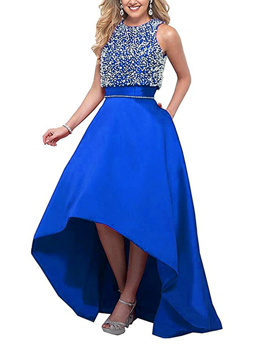 Royal bluee alilith.Z Sexy High Low Beaded Prom Dresses Long Formal Evening Party Gowns for Women 2 Piece with Jacket 2018