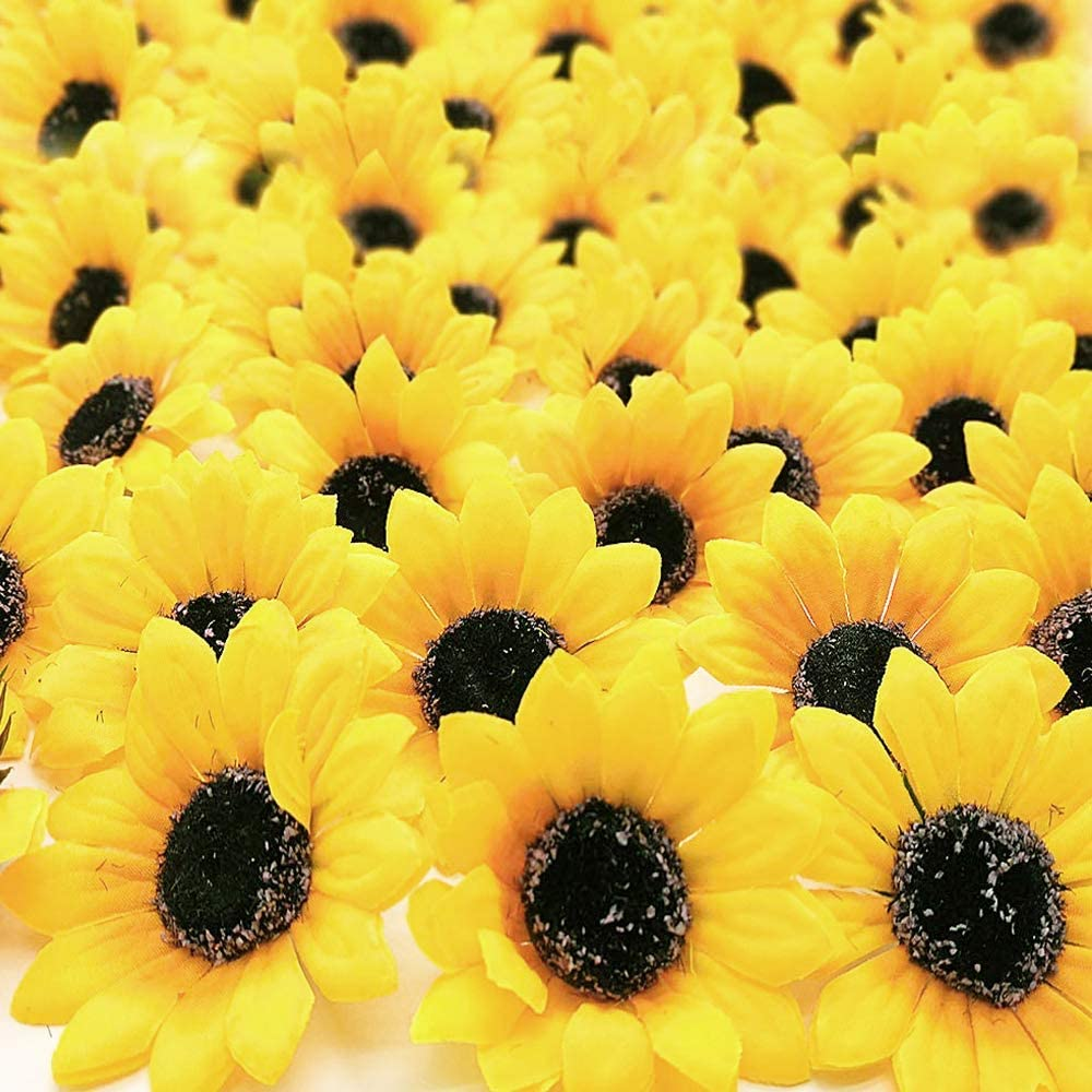 "ZMOCEN 100pcs Artificial Silk Yellow Sunflower Heads 2.8"" Fabric Floral for Home Decoration Wedding Decor Bride Holding Flowers Garden Craft Art Decor"
