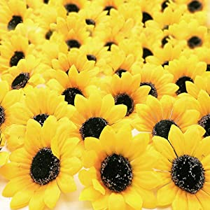 "ZMOCEN 100pcs Artificial Silk Yellow Sunflower Heads 2.8"" Fabric Floral for Home Decoration Wedding Decor Bride Holding Flowers Garden Craft Art Decor"