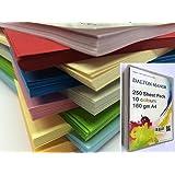 250 feuilles Papier Cartonné / Carte / Carton A4 160gm - MEGAPACK de 10 couleurs différentes
