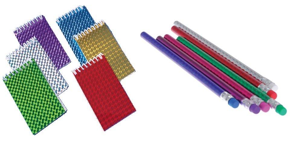 Kid Fun Hologram Notepads Prism Pencils Toy Party Favor Supplies 24 Piece Set Bundle for 12 US Toy Kid Fun