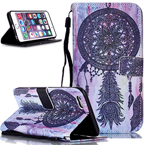 iPod Touch 6 Case,iPod Touch 5 Case,NSSTAR Black Dream Catcher Flip PU Leather Fold Wallet Pouch Case Premium Leather Wallet Flip Stand Credit Card ID Holders Case Cover for Apple iPod Touch 6 / 5