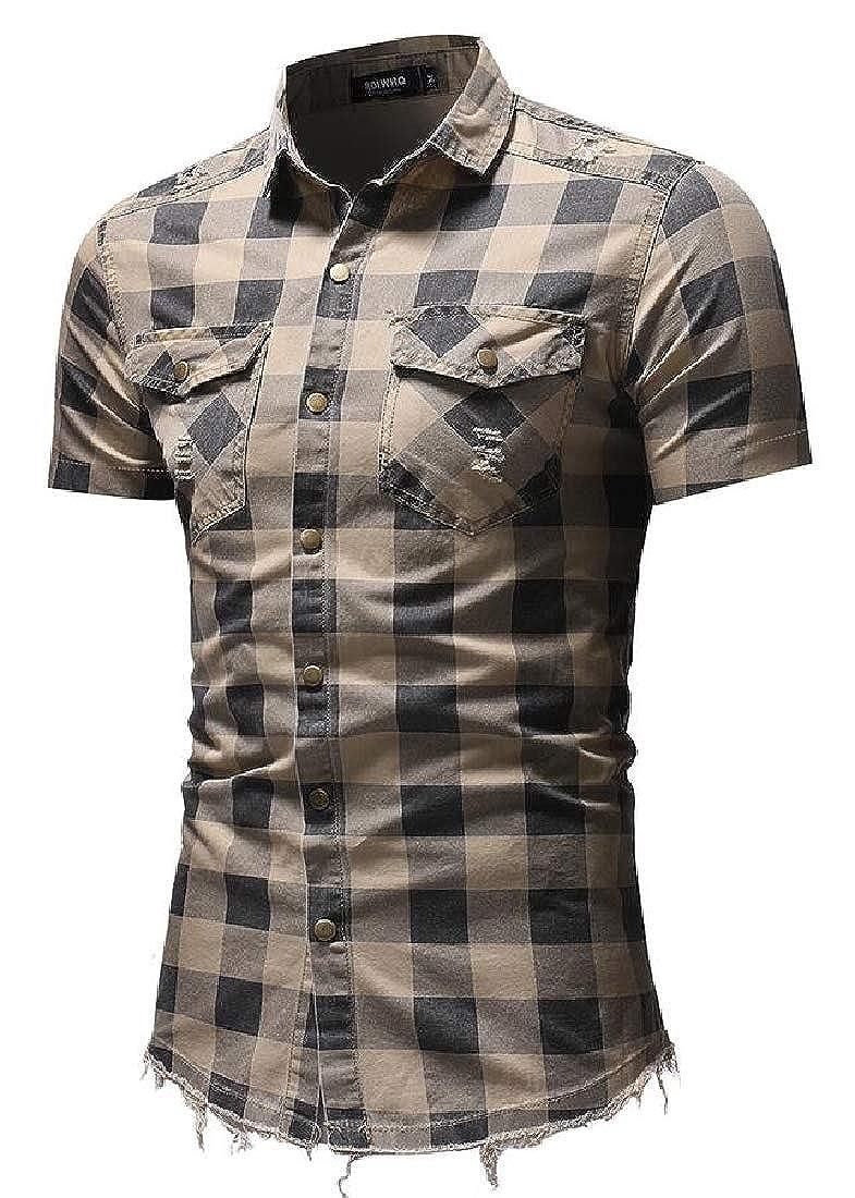 Esast Men Fashion Casual Short Sleeve Shirt Big and Tall Plaid Button Down Shirts