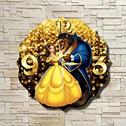 FBA Beauty and the Beast 11.8'' Original Handmade Wall Clock - Get unique décor for home or office – Best gift ideas for kids, friends, parents and your soul mates