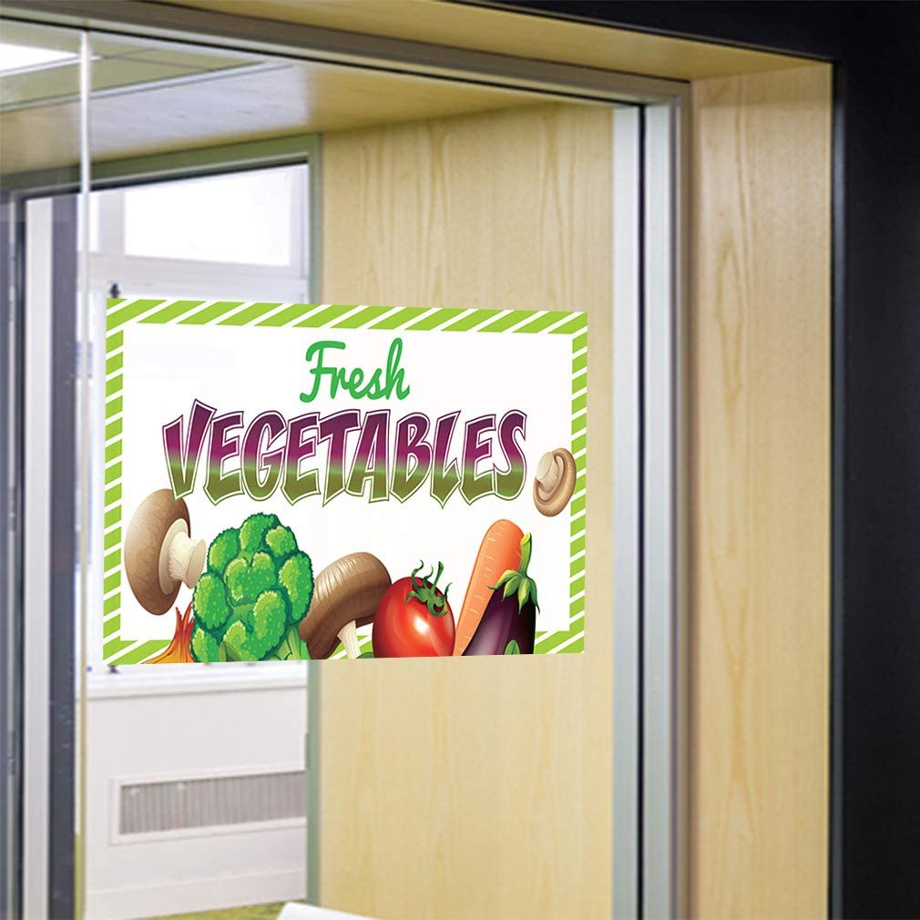 Decal Sticker Multiple Sizes Fresh Vegetables #1 Business Fresh Vegetables Outdoor Store Sign Green 14inx10in Set of 10