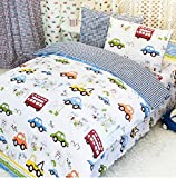 FADFAY Home Textile,Cars Bedding Queen Size,Train Bedding Sets,Cute Kids Bedding Set,Queen Size Cartoon Bedding,Anime Bed Sheets,4Pcs