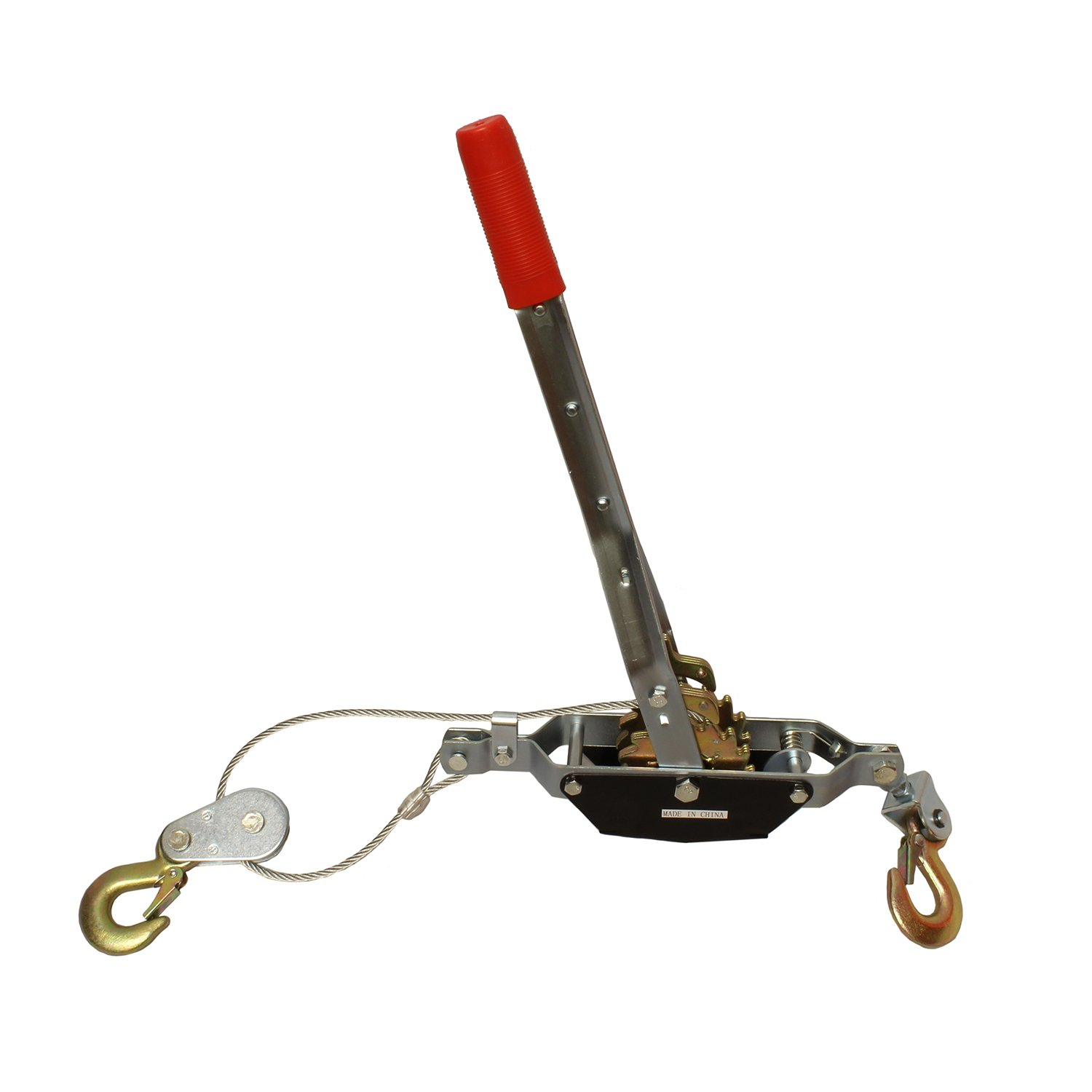 ABN Heavy-Duty Hand Puller with Cable Rope – 2 Ton Capacity, Dual (2) Gear, 2 Hooks – Come Along Cable Puller Tool
