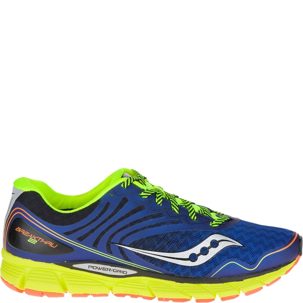 Saucony Men's Breakthru 2 Running Shoe, Blue/Cotton/Orange, 9.5 M US
