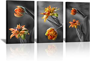 """3 Piece/Set Black and White Canvas Art Work Orange Holland Tulip Flowers Rustic Landscape Painting Gray Retro Floral Giclee Pictures Print Still Life Wall Posters for Living Room Bedroom Home Decor 16""""x24""""x3PCS"""