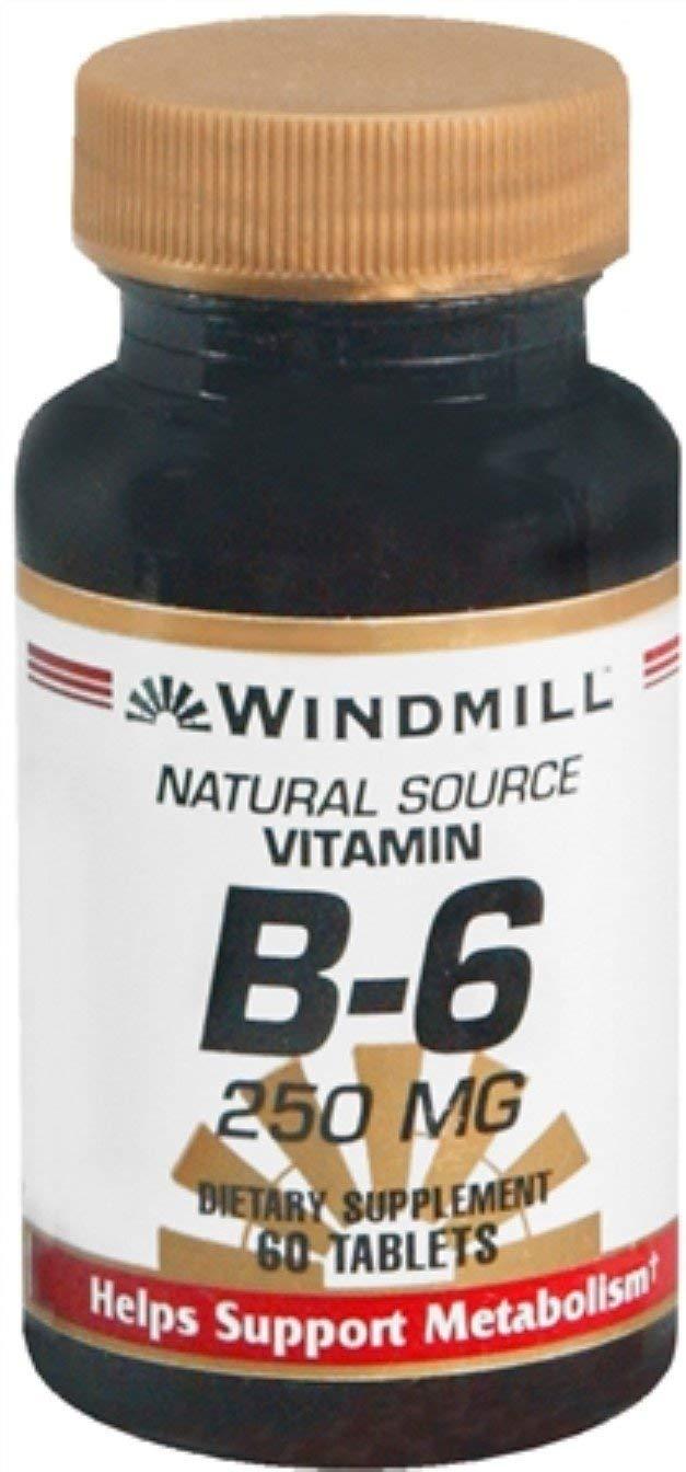 Windmill Vitamin B-6 250 mg Tablets 60 Tablets (Pack of 8)