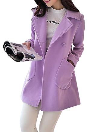 6b41fe504f1 Amazon.com  ARTFFEL-Women Warm Solid Fare Swing Wool Trench Pea Coat Jacket  Overcoat Outwear  Clothing