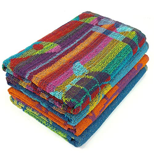 Terry Cloth Beach Towel - KAUFMAN - Terry Beach & Pool Towel 4-Pack of ASSORTED Designs - 30in x 60in (104700)