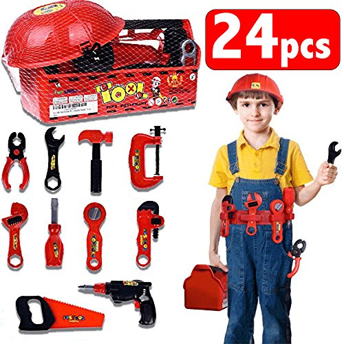 Kids Tool Box Set With Tool Belt Durable Children's Educational Pretend Construction Engineer Role Play Set with Costumes Accessories And Sturdy Plastic Carrying Box - 24 (Screw And Bolt Halloween Costume)