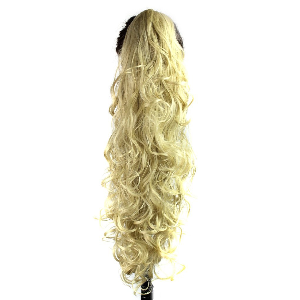 S-ssoy 31(78cm) Women's Curly Pony Tail Hair Piece Synthetic Claw Clip Ponytail Wavy Long Curled in Hair Extension Extensions Long/Voluminous Wig Hairpieces for Women Girls Lady, 1B#