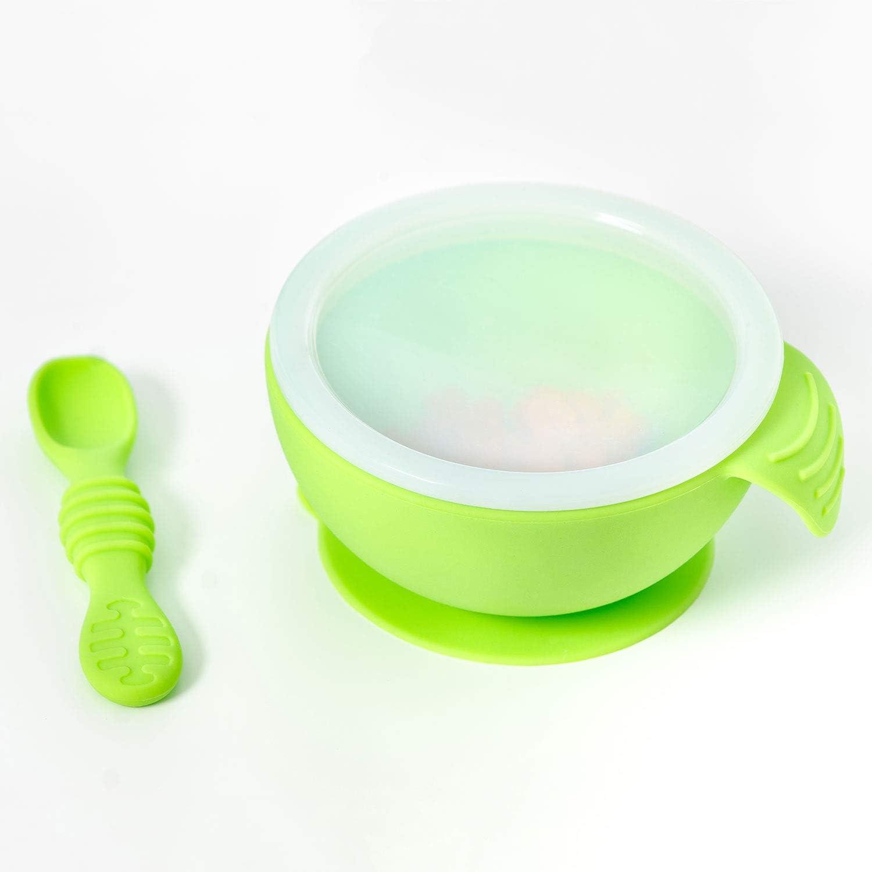 Tapa y Cuchara para Beb/és Hippychick Bumkins Verde Conjunto de Silicona con Taz/ón