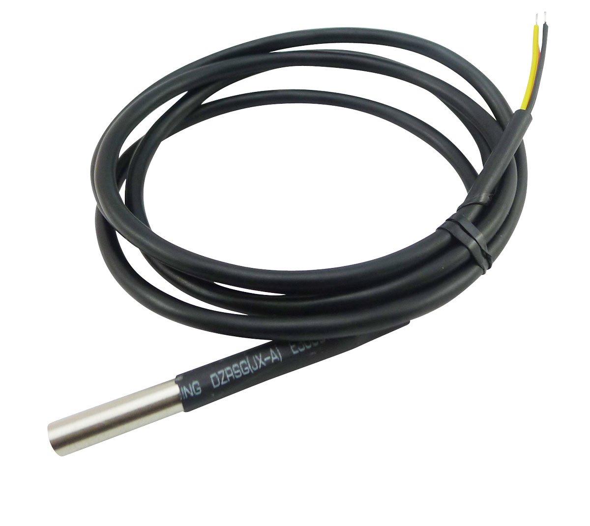 Aihasd Cable impermeable del sensor de temperatura 5M DS18B20 Sonda del cable Sonda digital del term/ómetro Acero inoxidable