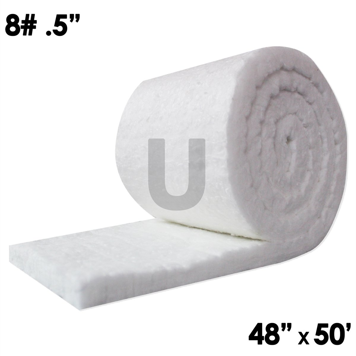 UniTherm Ceramic Fiber Insulation Blanket Roll, (8# Density, 2300°F)(0.5''x48''x50') for Kilns, Ovens, Furnaces, Forges, Stoves and More!