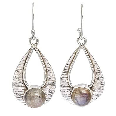 fc1745aaf Buy Artisans Crafted Handmade Shiny Labradorite Natural Gemstone 925 Sterling  Silver Jewelry Earring Online at Low Prices in India   Amazon Jewellery  Store ...