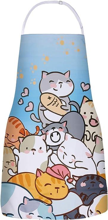 Cat Apron for Women with Pockets Cute Kitchen Cotton Linen Apron Home Chef Apron