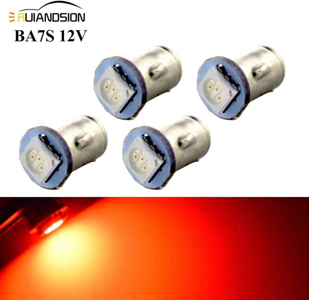 luci di messa a terra negativa confezione da 4 Ruiandsion 12 V BA7S Dashboard lampadine LED 5050 1SMD 30 lm rosso auto lampadina LED interno per cruscotto luci indicatori luci strumenti