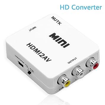 HDMI Converter, nutk HDMI de 1080p a AV – Adaptador de audio y vídeo RCA