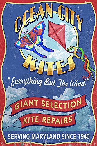 Ocean City, Maryland - Kite Shop Vintage Sign (24x36 SIGNED Print Master Giclee Print w/ Certificate of Authenticity - Wall Decor Travel - Shops Ocean Maryland City