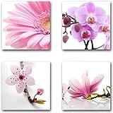 Blumen Blüten - Set B schwebend, 4-teiliges Bilder-Set je Teil 29x29cm, Seidenmatte moderne Optik auf Forex, UV-stabil, wasserfest, Kunstdruck für Büro, Wohnzimmer, XXL Deko Bild