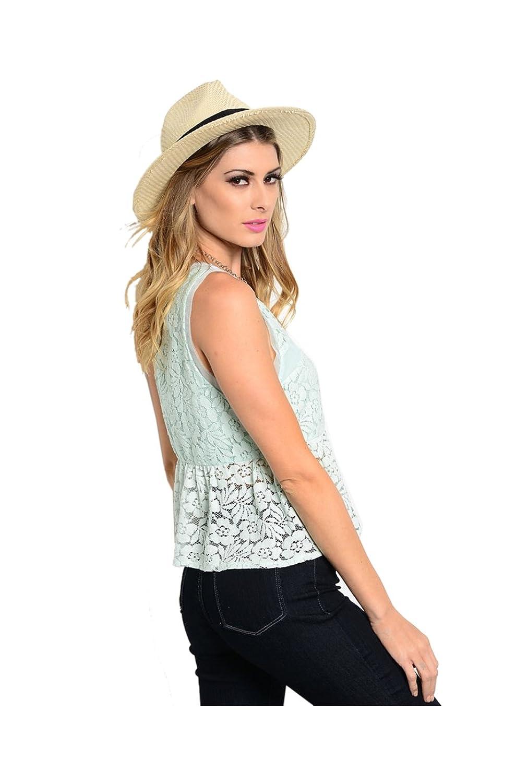 2LUV Women's Sleeveless Lace Peplum Top