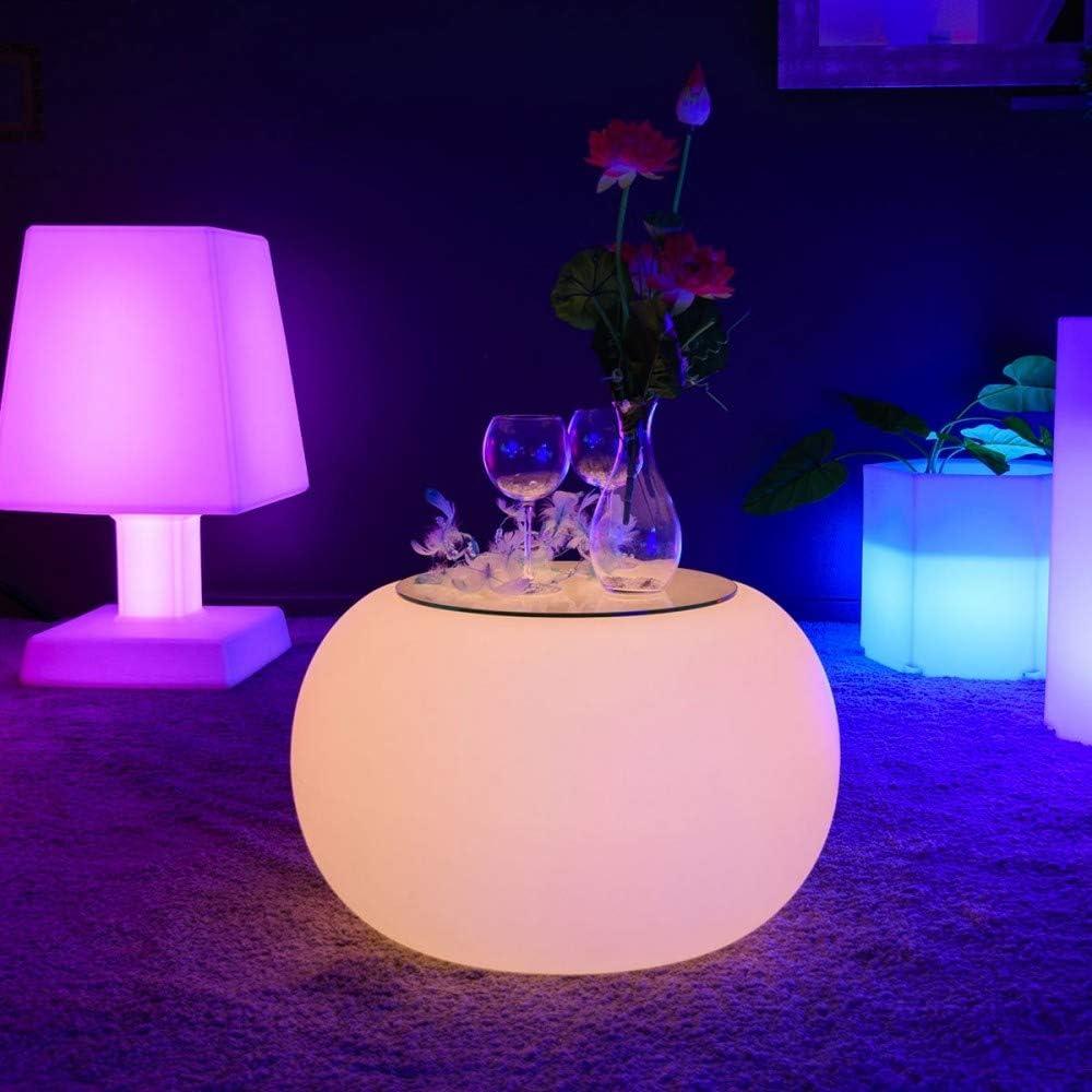 Livedeco Table Basse Lumineuse A Led Multicolore Round S Amazon
