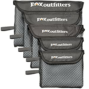 Fox Outfitters Microfiber Towel - Ultra Compact Quick Dry Microfiber Camping & Travel Towel with Hang Loop Snap. Lightweight & Great for Backpacking, Hiking, Sports. (Grey - Extra Large)