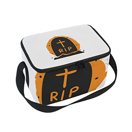 montoj halloween tomb rip insulated lunch tote bag cooler bag