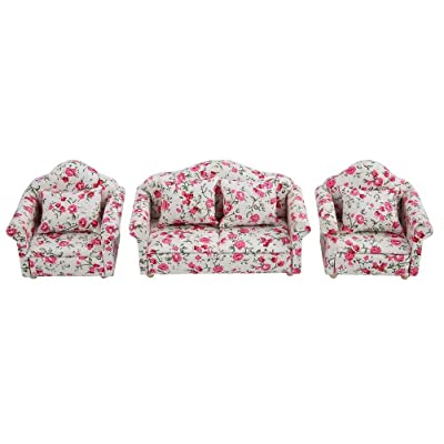 iLAZ 1:12 Scale Dollhouse Furniture Miniature Sofa 3pcs Set & Cushions Living Room Decor for Doll House,Miniature Accessory Kids Pretend Toy,Creative Birthday Handcraft Gift - Multi Flower Pattern: Toys & Games