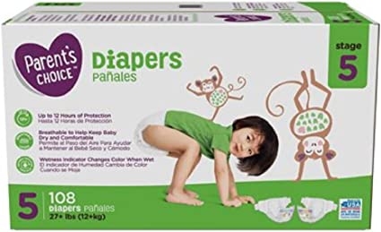 Size 5 Diapers 280 compared to PAMPERS CHEAP!!! Parent/'s Choice Diapers