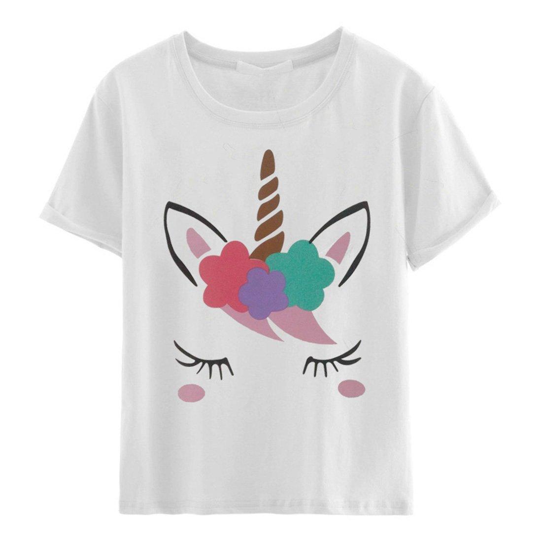 Cute Unicorn Printing Short Sleeve Crew Neck T Shirt For 9325