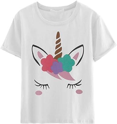 YUFAA Camiseta de manga corta de algodón Unicornio con estampado de dibujos animados para mujer Camiseta de manga corta de algodón Camisa de entrenamiento (Color : Blanco, Size : L): Amazon.es: Ropa