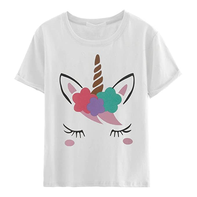 d916851c7de Amazon.com  Women s Cute Unicorn Printing T-Shirt Short Sleeve Crew Neck  for Women Shirts  Clothing