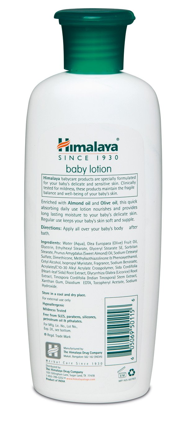 Himalaya Baby Lotion with Olive Oil and Almond Oil, Free from Parabens, Mineral Oil & Lanolin, Dermatologist Tested, 6.76 oz (200 ml)
