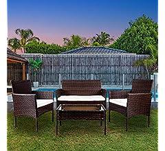 YOUKE 4 Piezas Conjunto de Muebles de jardín de ratán para Interiores y Exteriores, sofá, Mesa, Negro