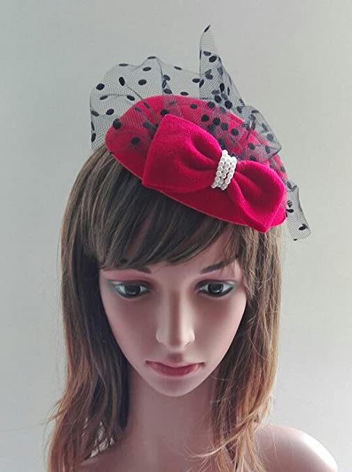 1940s Style Hats Womens Fascinators Hat Pillbox Hat Cocktail Party Hat with Dot Veil Bowknot Hair Clip $8.89 AT vintagedancer.com