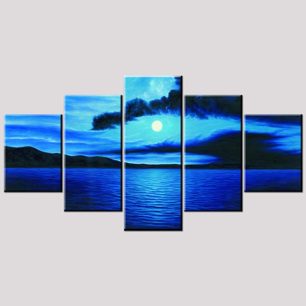 Wieco Art Canvas Prints Wall Art Seascape Beach Picture Paintings Ready to Hang for Living Room Kitchen Home Decor Dark Blue Ocean White Sun Large Modern 5 Panels Stretched and Framed Sea Artwork L