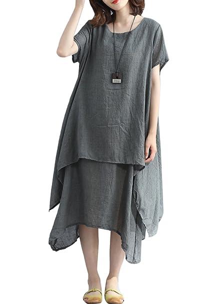 Túnica Vestido Mujer Verano Casual Maxi Vestidos Largos Asimétricos De Lino Grey M