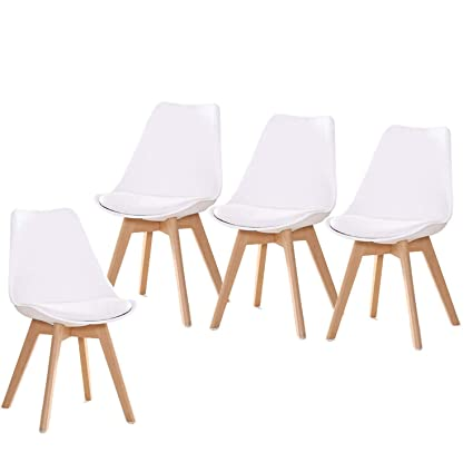 5036e6b0d8222 YEEFY Dining Chairs Side Chair DSW Dining Chair Walnut Legs, Set of 4(White)