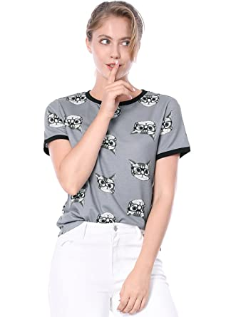 b4e59d8be61c5a Allegra K Women s Short Sleeve Contrast Cartoon Cat Tee Ringer T-Shirt XS  Grey