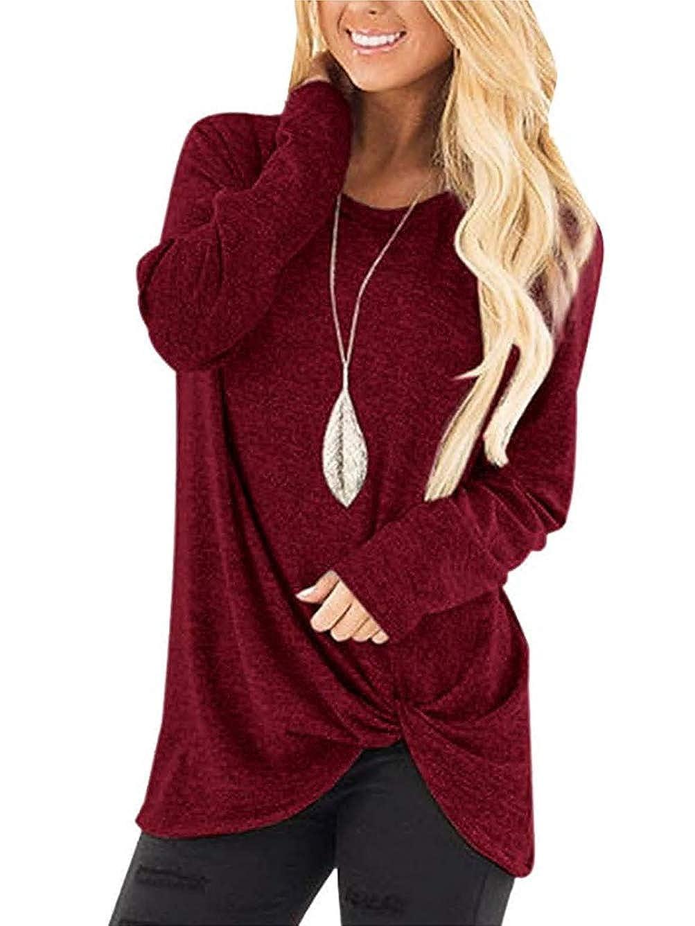 Olidarua Women's Casual Long Sleeve Tops Plain Round Neck Loose Fit Shirts Blouse Sweatshirts