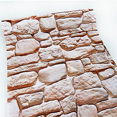 (Yifely Castle Stone Brick Effect Self-Adhesive PVC Wall Sticker Xmas TV Background Decor,45x400cm)