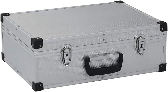 vidaXL – Maletín de herramientas de aluminio, maletín de transporte, caja de aluminio, maletín universal, maletín de aluminio, 46 x 33 x 16 cm, plata aluminio: Amazon.es: Bricolaje y herramientas
