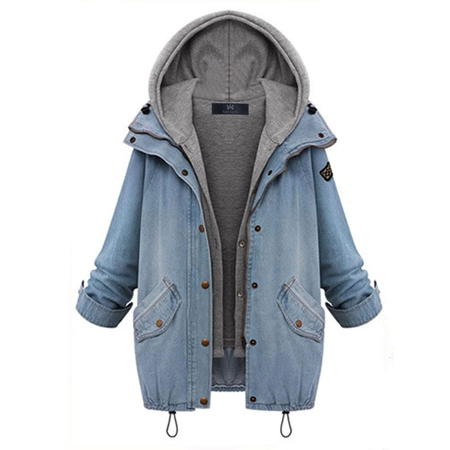 East Castle Women&39s Zip Up Blue Denim Coat Jacket with Hoodie Vest